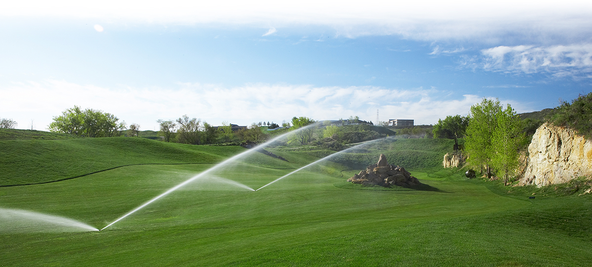Sprinklers watering a golf course.
