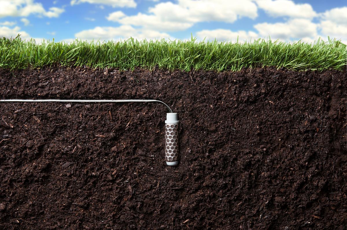 A sensor beneath the ground.